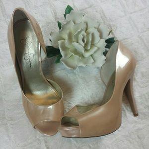 Jessica Simpson Patent Nude Taupe Stiletto Heels